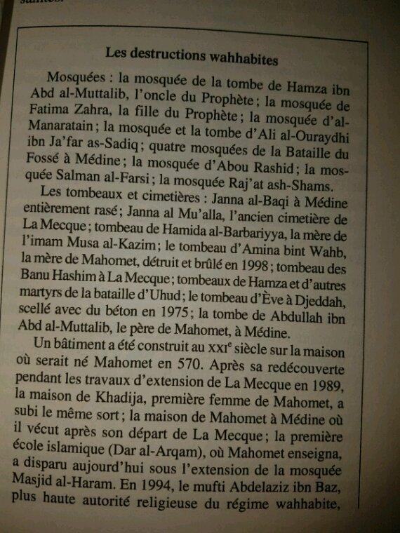 Les destructions des Wahhabites