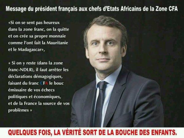 Message de MACRON aux chefs d' États africains de la zone CFA