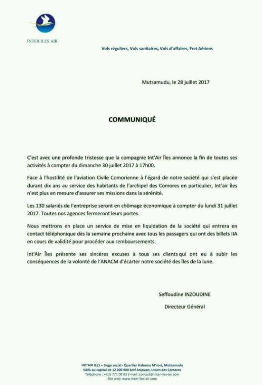 COMMUNIQUÉ DE PRESSE D' Int'Air Îles