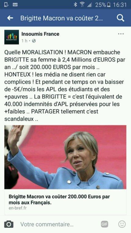 Brigitte MACRON va toucher 200.000 euros par mois