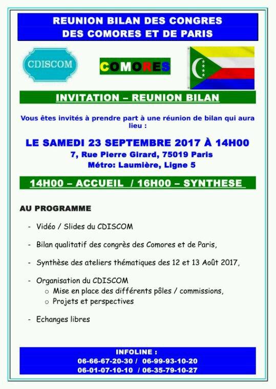 RÉUNION BILAN DES CONGRÈS DU CDISCOM ET DU C.M