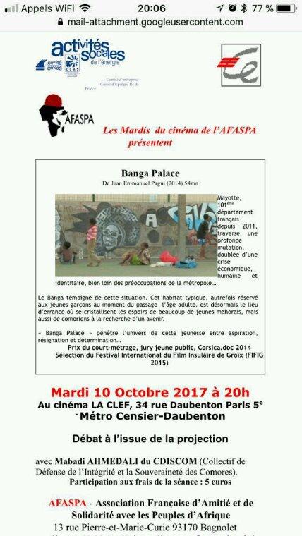 Film BANGA PALACE mardi 10 octobre 2017 à 20h