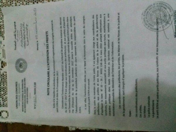 Note du ministre de l' Intérieur qui interdit le congrès du parti JUWA à Mutsamudu : mesure totalitaire et dictatoriale !