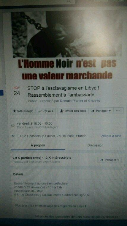 Manifestation devant l' ambassade de Libye à Paris ce vendredi 24 novembre 2017