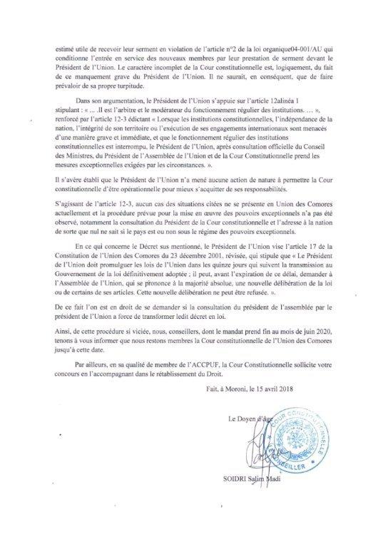 Lettre du doyen de la Cour Constitutionnelle