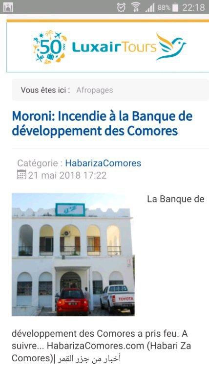 Moroni: incendie de la Banque de Développement des Comores