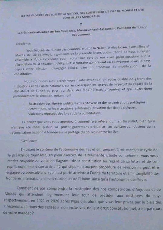 Lettre ouverte des élus de Moheli au président Azali Assoumani
