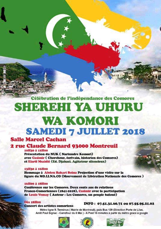 Célébration de l'indépendance des Comores le samedi 7 juillet 2018 à Montreuil