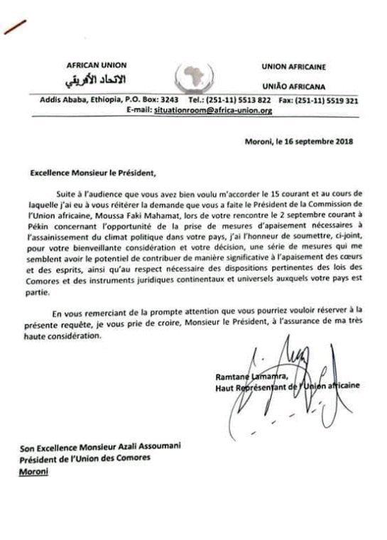 Lettre de Mr Lamamra au président Azali