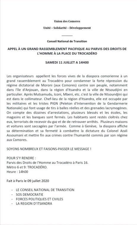 Appel à la manifestation ce samedi 11 juillet 2020 contre les répressions à Ntsundjini