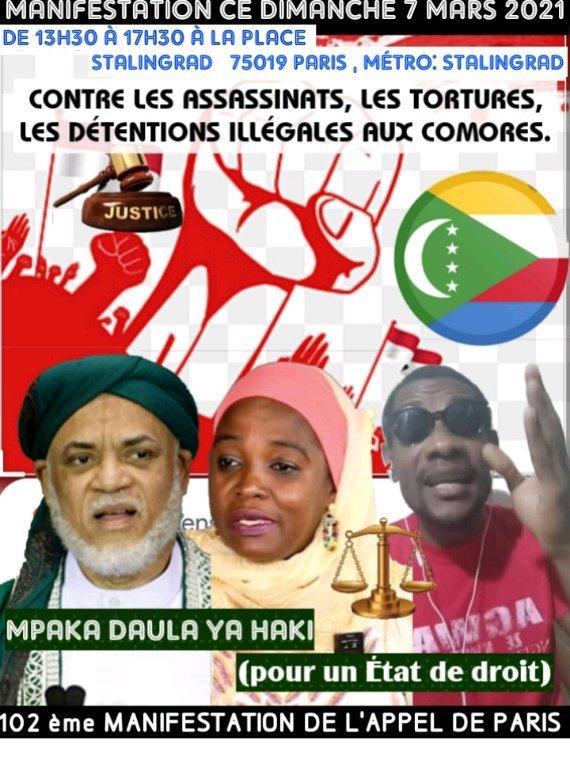 Manifestation à Paris Place de Stalingrad ce dimanche 7 mars 2021
