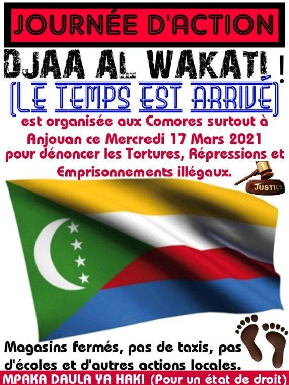 Journée d'action à Ndzuani et aux autres îles Comores ce mercredi 17 mars 2021