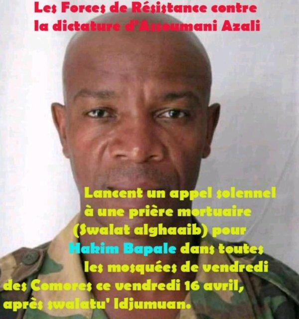 Déclaration du Front Démocratique suite à l'assassinat de Major Hakim alias Bapalé