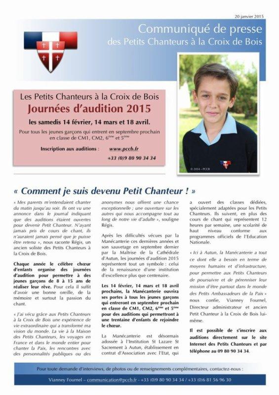 Les Petits Chanteurs à la Croix de Bois -  Journées d'audition recrutements  2015