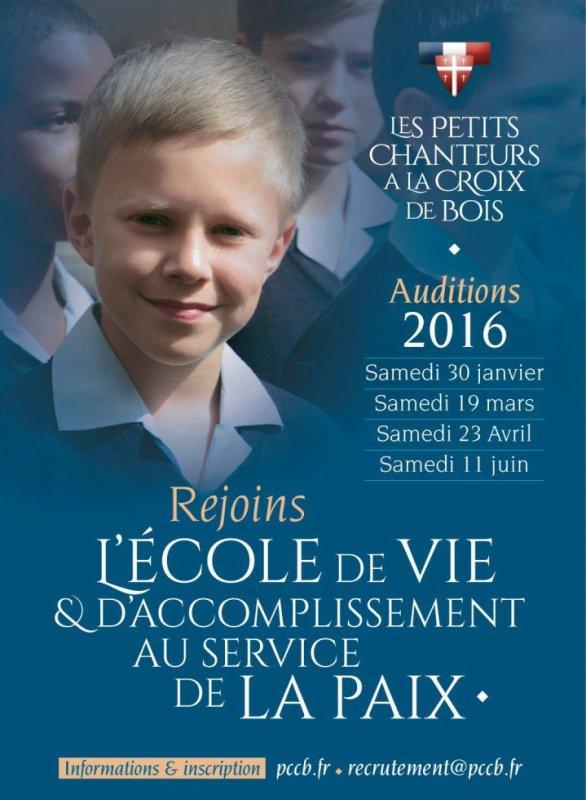 Les Petits Chanteurs à la Croix de Bois -  Auditions 2016