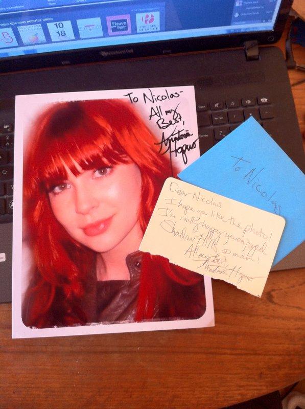 Autographe d'Anastasia Hopcus