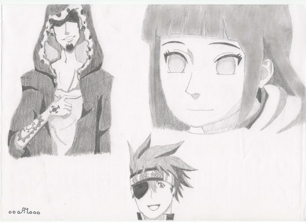 Dessin n°18 : Law, Hinata et Lavi (fan-art)