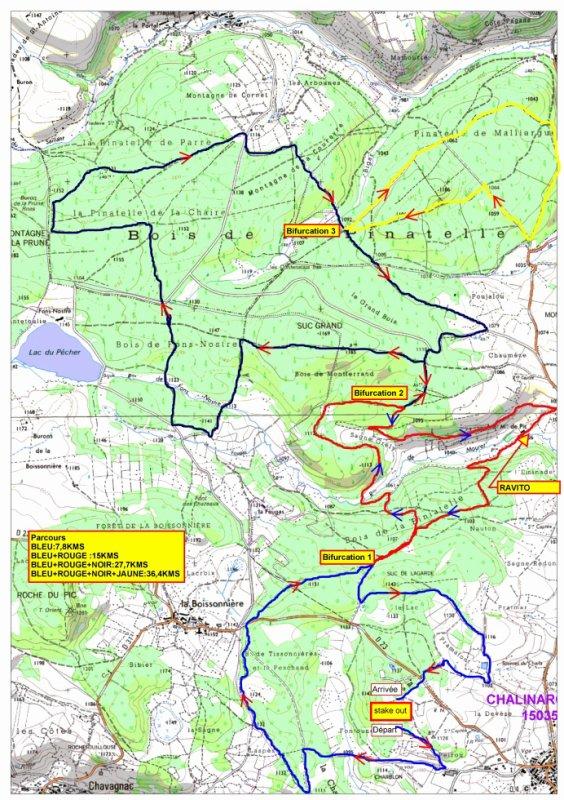 Plans des parcours rando Pinatelle 2014