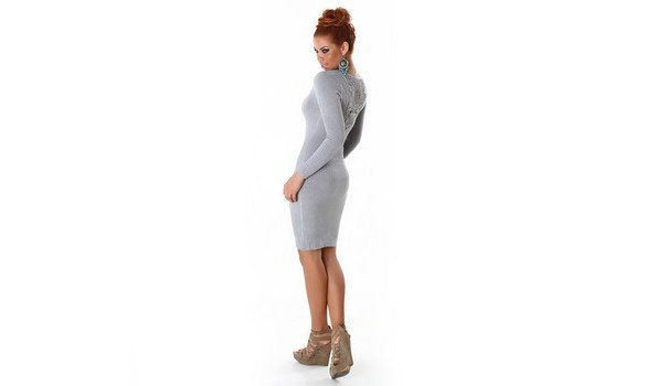 Robe pull sexy gris clair