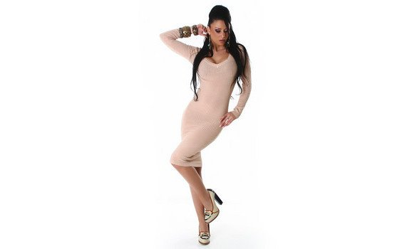 Robe pull sexy col V, couleur nude, taille unique 36/38/40