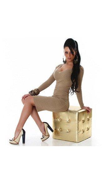 Robe pull sexy, décolleté V, couleur doré, taille unique 36/38/40