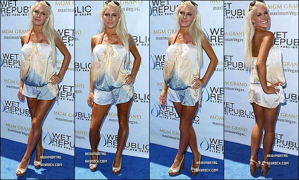 . 18/05/11__Heidi était à la piscine à Las Vegas pour faire la fête avec Spencer et son amie Crystal Harris ! 18/05/11__Heidi Montag était sur le red carpet du Wet republic à Las Vegas !__Tu aimes sa tenue ?   + Découvrez quelques photos de la fête du wet republic pool au MGM à Las vegas qu'elle a mis sur son Twitter , le lendemain ! .