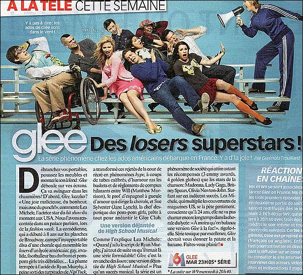 SCANS de divers magazines français afin de promouvoir l'arrivée de la série Glee en France !     La série Glee a envahit la presse française avec son arrivée sur les chaines M6 et W9 la semaine dernière. Découvrez quelques scans des magazines  TV Grandes Chaines, Trinity Star, Télé Loisirs, Télé 7 Jours, Elle ...