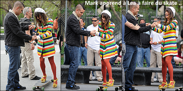 29 avril 2011 ~ Mark et ses co-stars au Washington Square à New York pour le tournage de Glee.