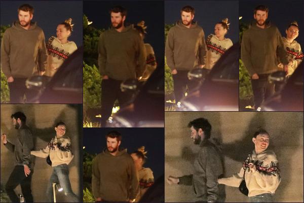 17.02.2019 :Miley C. et son époux Liam ont été vus se rendant dans un restaurant situé à Nobu à - Malibu  Nos jeunes mariés se sont retrouvés pour un repas romantique tous les deux , malheureusement les photos sont de mauvaise qualité