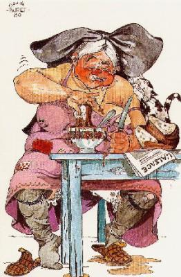 Le petit déjeuner  carte postale de Claude Buret, illustrateur alsacien