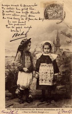 """""""Par le petit doigt"""" chanson datant de 1903, de Théodore Botrel illustrée par une ancienne carte postale datant de la même époque (d'après l'affranchissement 1 c !)"""