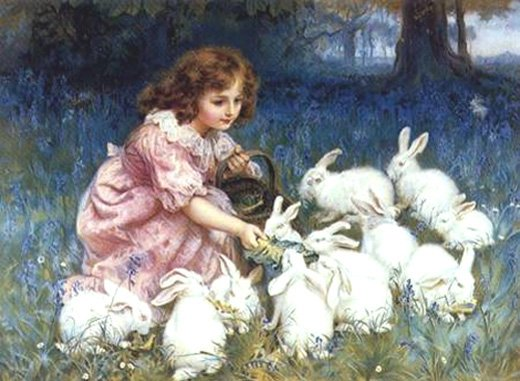 Frédérick Morgan (1859-1927)   Fillette nourrissant ses lapins avec des feuilles de chou