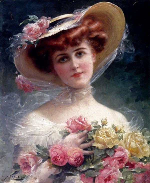 """A l'approche de la Fête des Mères, """"La belle aux fleurs""""   Emile Vernon   (1872-1919)"""