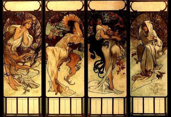 "Alphonse Mucha   (1860-1939)  ""Les saisons"""
