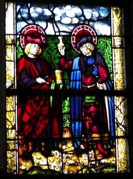 Vitrail représentant les Saints Côme et Damien, frères jumeaux