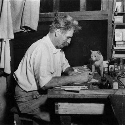 Albert Schweitzer et son chat