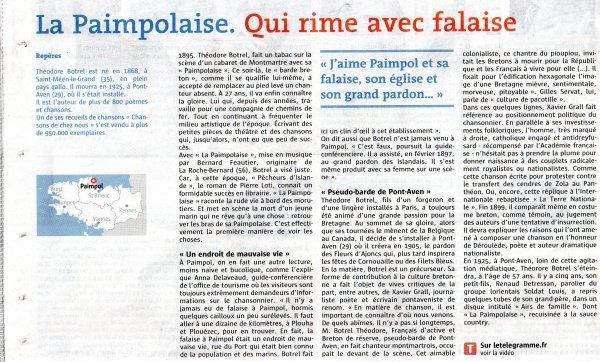 """Théodore Botrel """" la Paimpolaise """"  1905"""