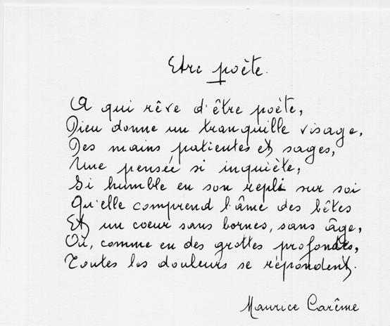 Un peu de poésie avec Maurice Carême  (1899-1978)