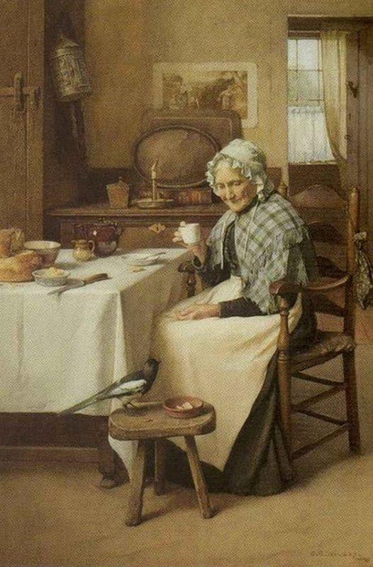 Un modèle de vie paisible avec Charles Spencelayh, né le 27 octobre 1865   (1865-1958)