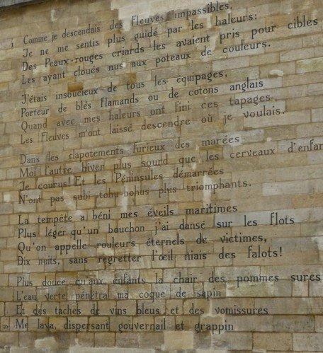 """""""Le bateau ivre""""  poème mural d'Arthur Rimbaud   (1854-1891)"""