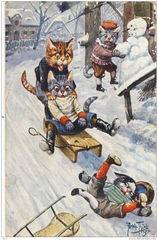 Météo du jour...  illustrée par Arthur Thiele  (1860-1936)
