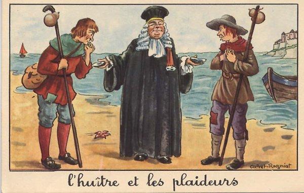 Jean de La Fontaine,  L'Huître et les Plaideurs,  Livre IX, fable 9
