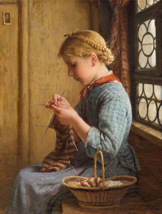 Le tricot  vu par Albert Anker, en poésie et en peinture...