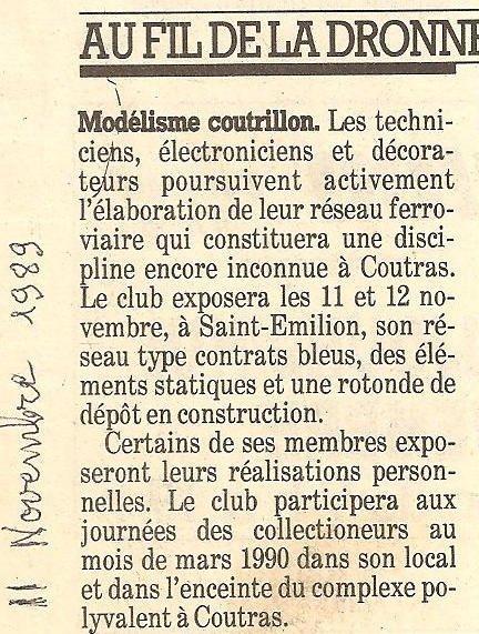 Coupures de presse de 1988 et 1989