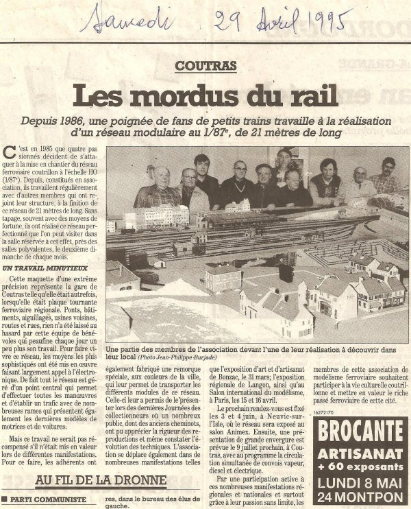 Coupure de presse le 29 avril 1995