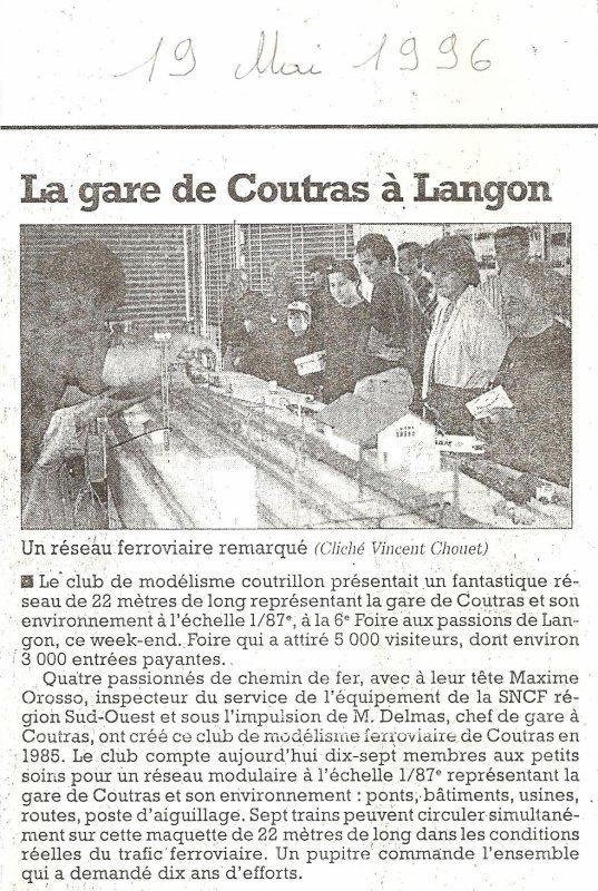 Coupures de presse en 1996