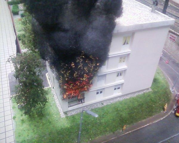 Une petite scénette d'un incendie