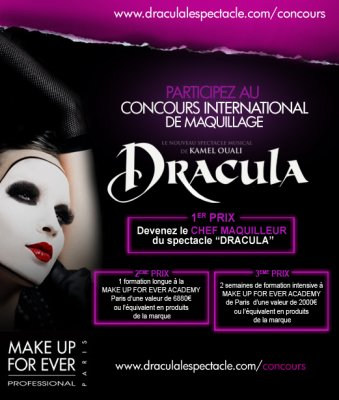 """CONCOURS ! Devenez CHEF MAQUILLEUR du spectacle """"Dracula"""" !"""