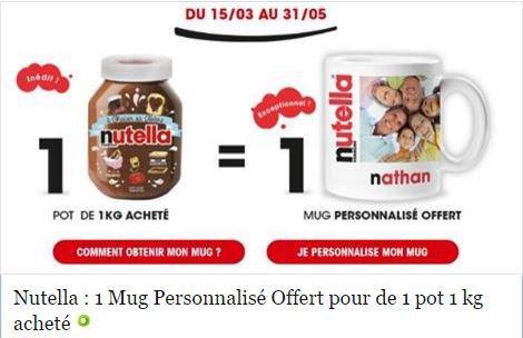 Nutella : 1 mug personnalisé offert pour 1 pot de 1 kg acheté