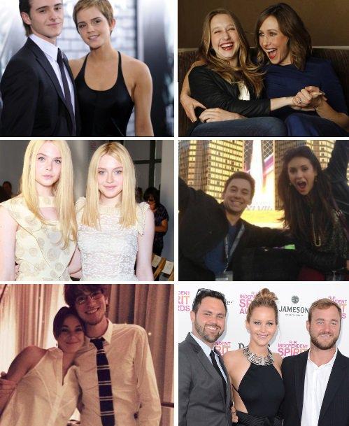 Des actrices et leurs frères et s½urs. Montage fait par moi. Disponible sur tumblr :)